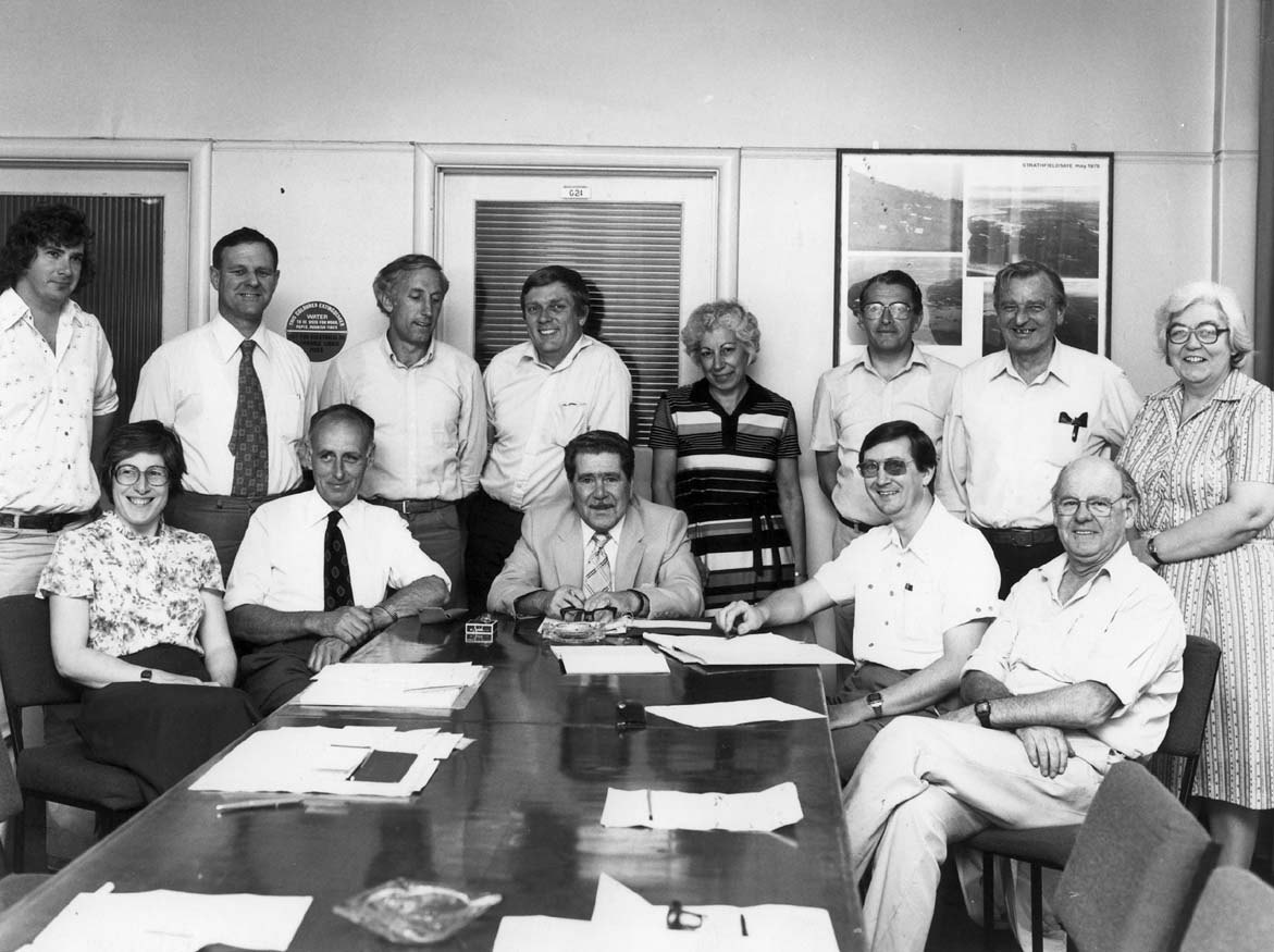 Staff Association Executive; office-bearer Ken Otway, seated far right