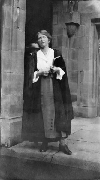 Miss Jessie Webb in academic dress, University of Melbourne, Doris McKellar Collection, 1975.0048.00007