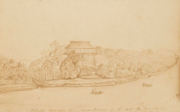 Dubylib River, Fiji, residence of the late Rev. Mr Baker. W.R.G. Drawing, nd. University of Melbourne Archives, William Robert Guilfoyle, 1975.0104