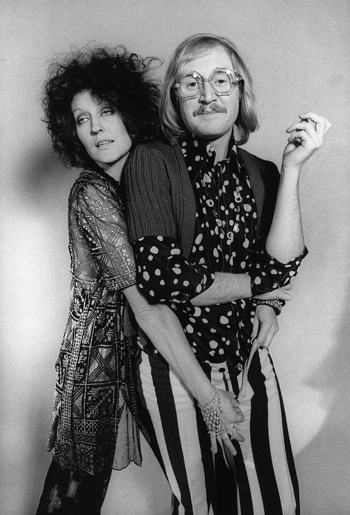Germaine Greer and Vivian Stanshall of the Bonzo Dog Doo Dah Band, posed in a London studio.