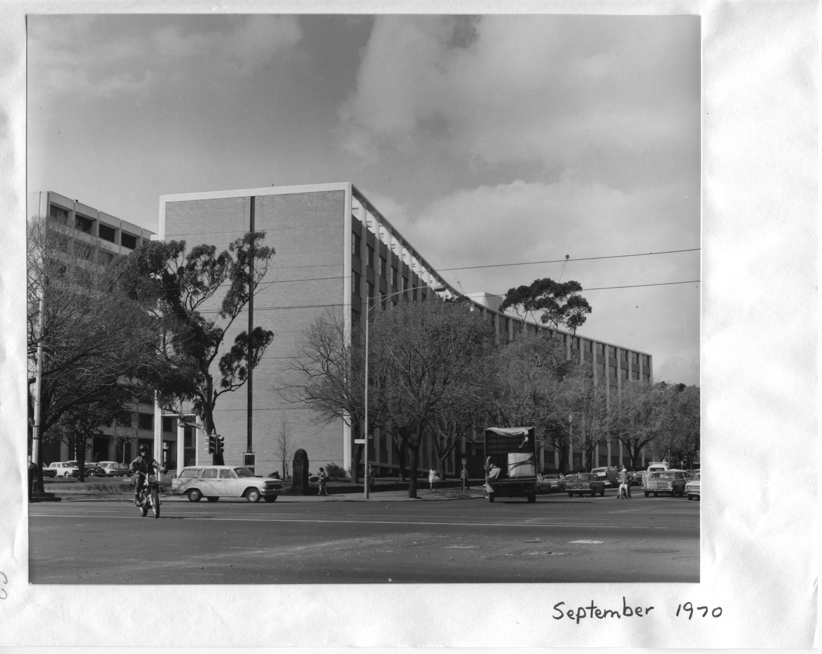 The main Medical building from the Royal Parade and Grattan Street intersection, 1970