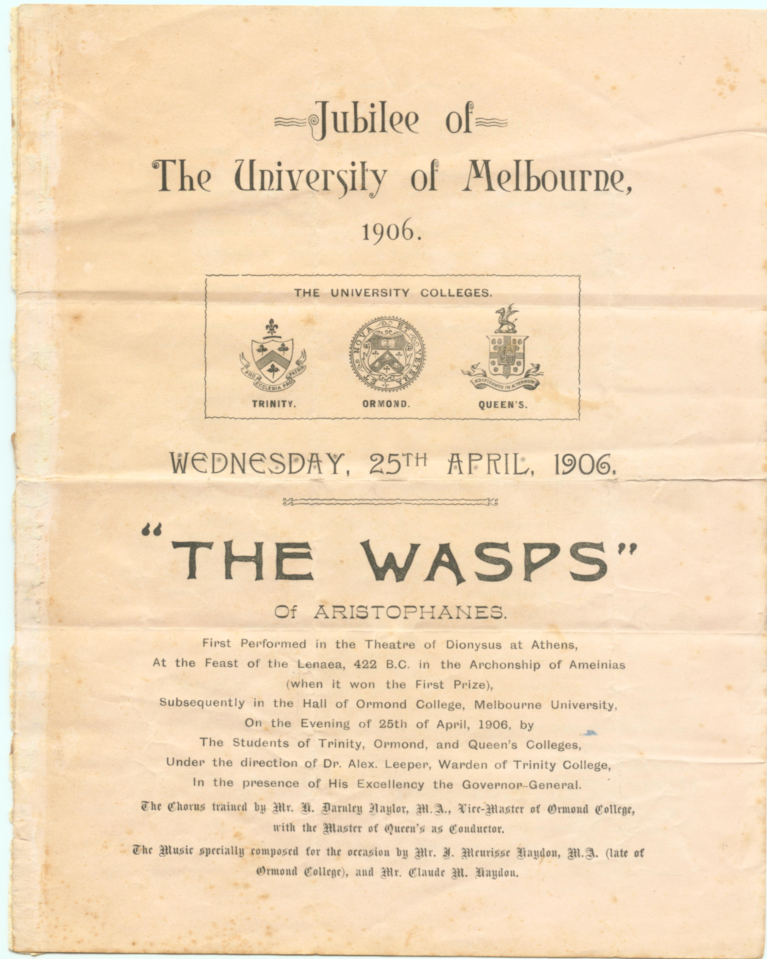 Program for Jubilee performance of 'The Wasps'