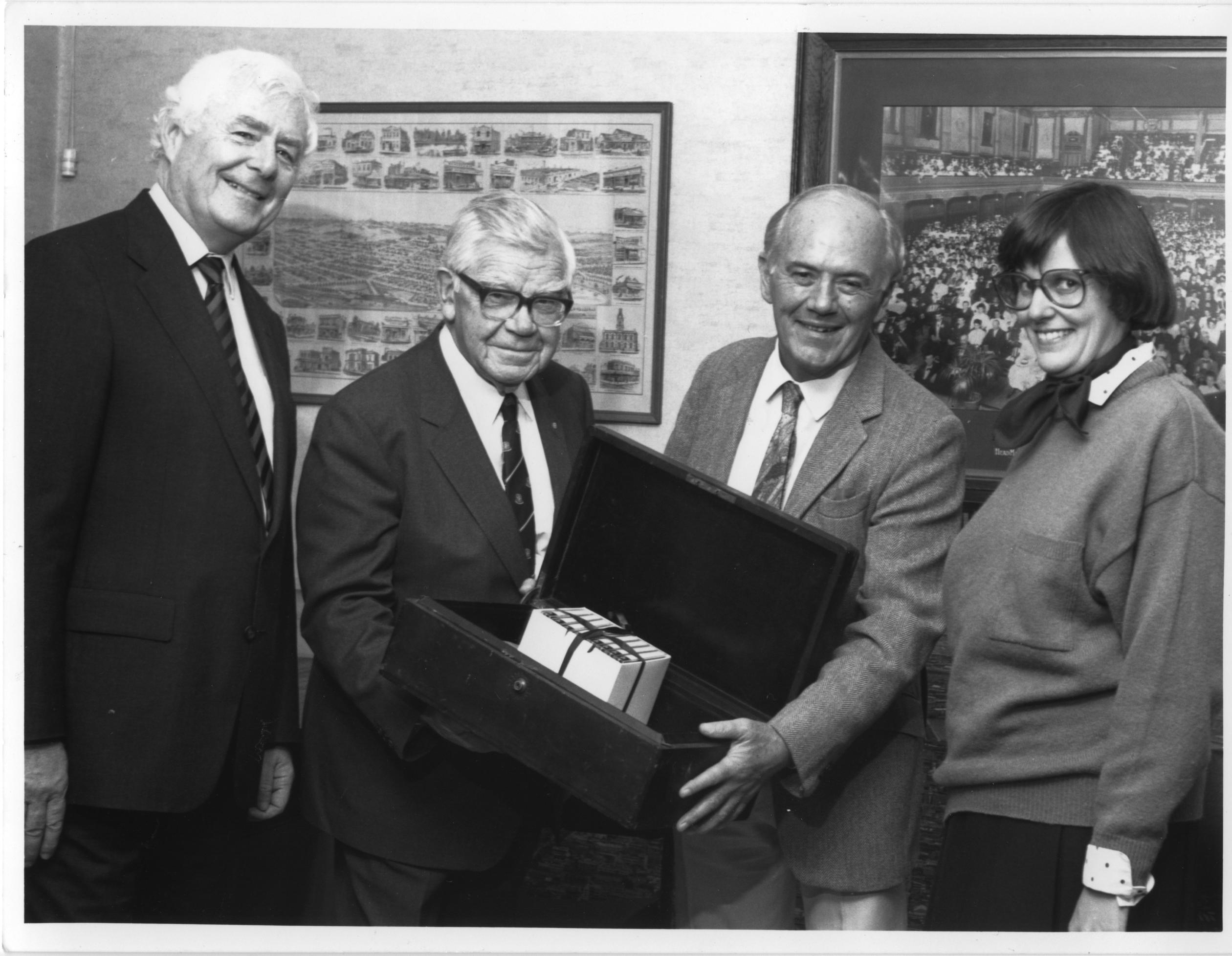 Professor John Power (left), with 'Pansy' Wright, Frank Strahan and Guinevere Threlkeld