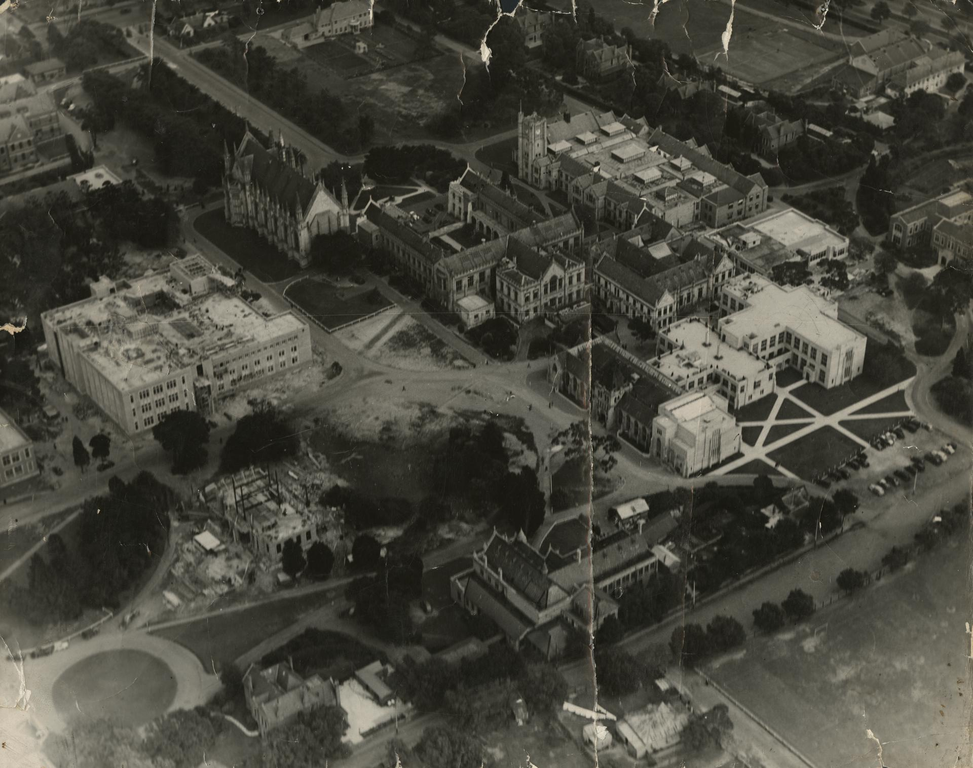 Aerial view of University of Melbourne, c1938