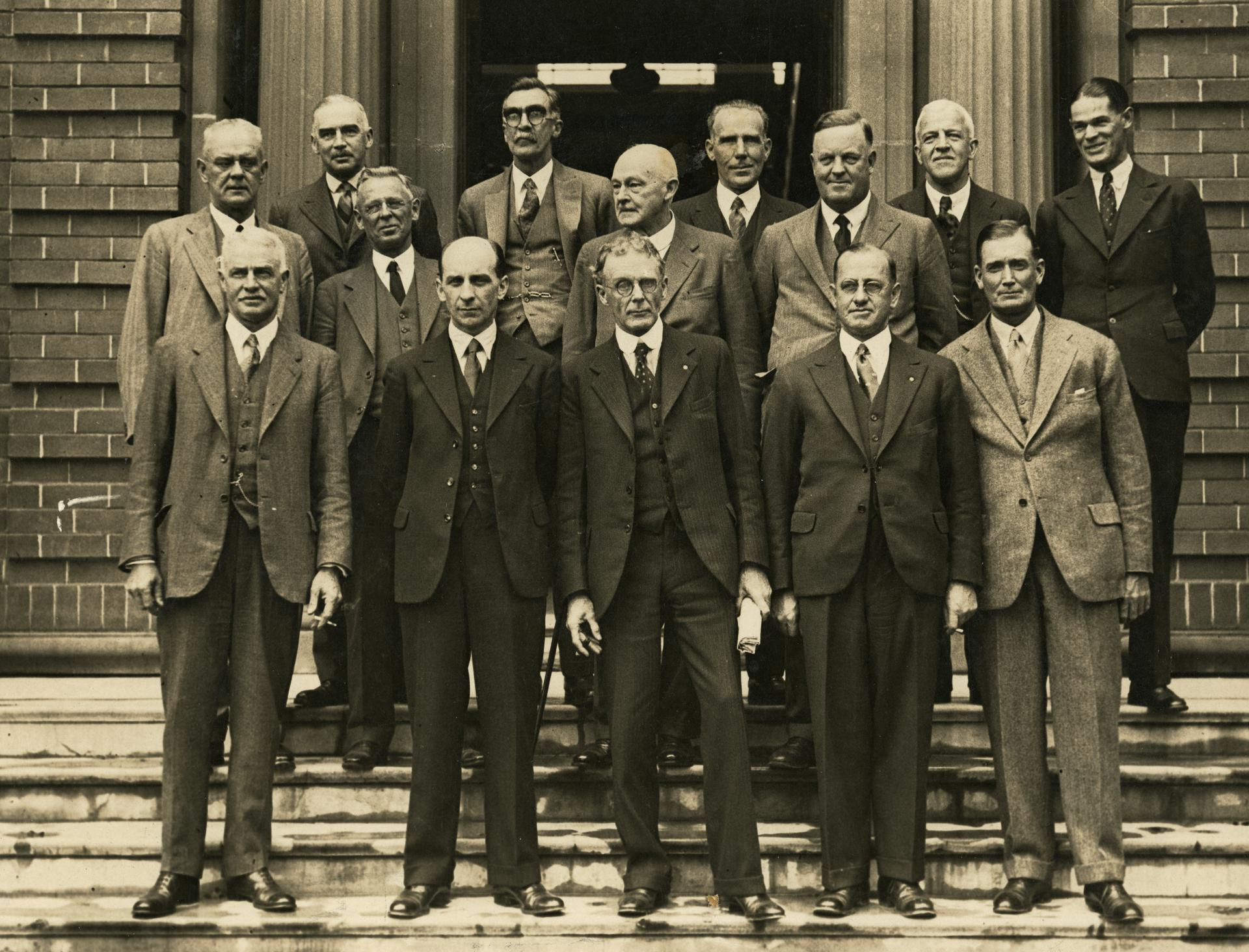 Prof H.A. Woodruff at a meeting of representatives of Australian National Research Council, 1934