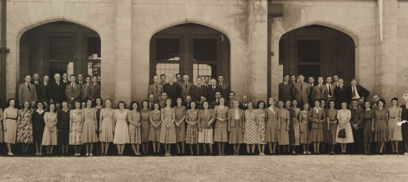 Administrative and Office Staff group photo, University of Melbourne, 1948. University of Melbourne Photographs Collection, 2017.0071.00007