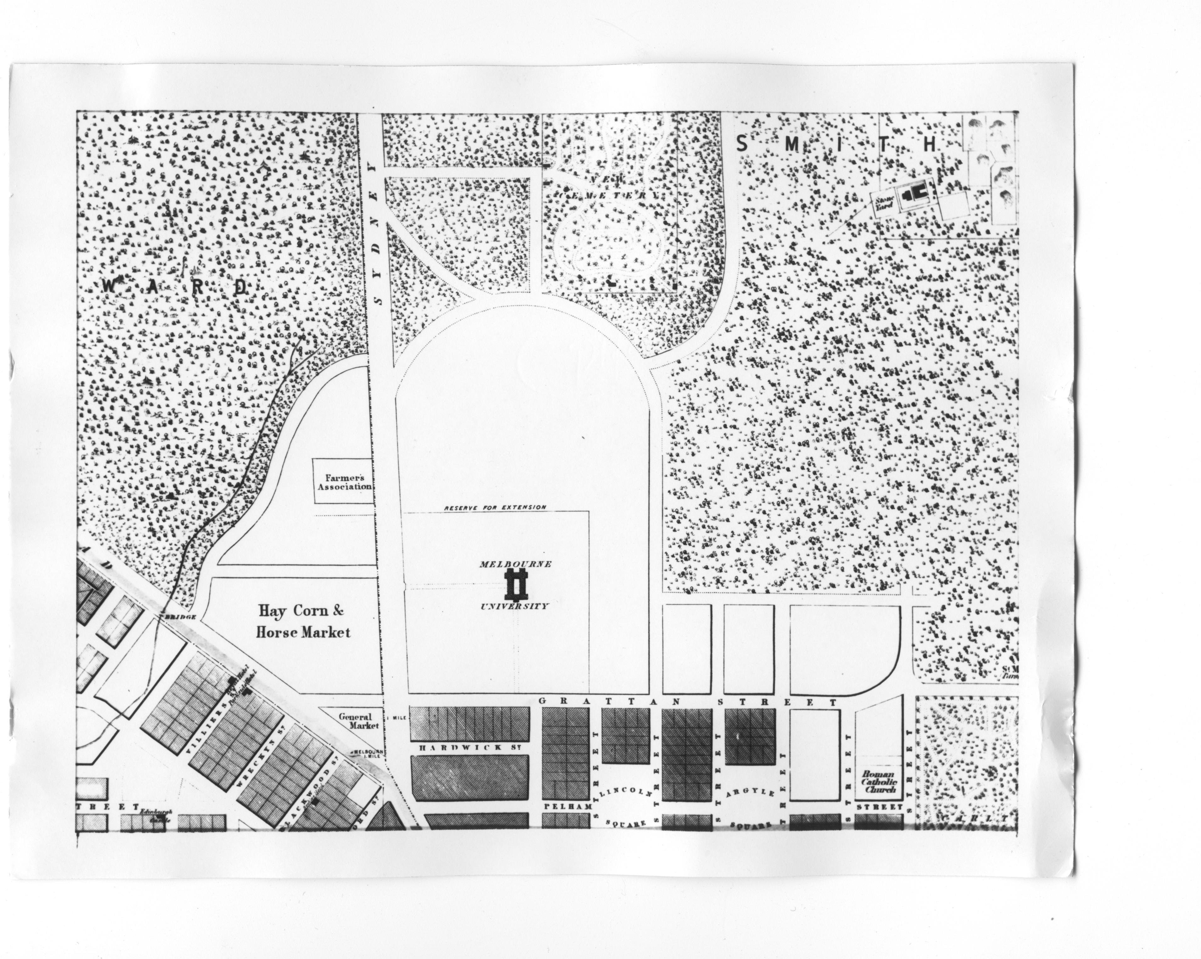 1855 locality plan with original University building