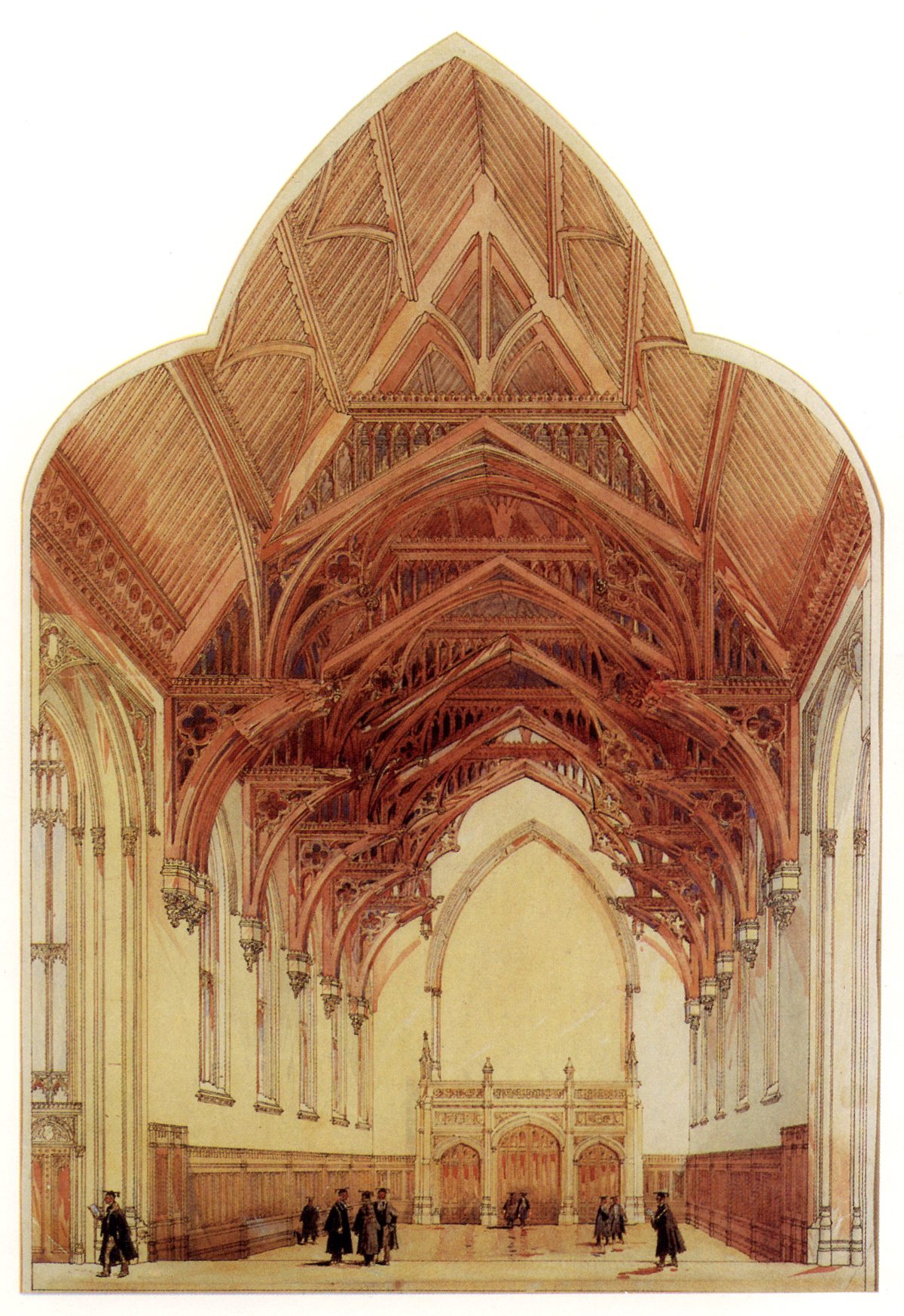 Wilson Hall interior, watercolour perspective