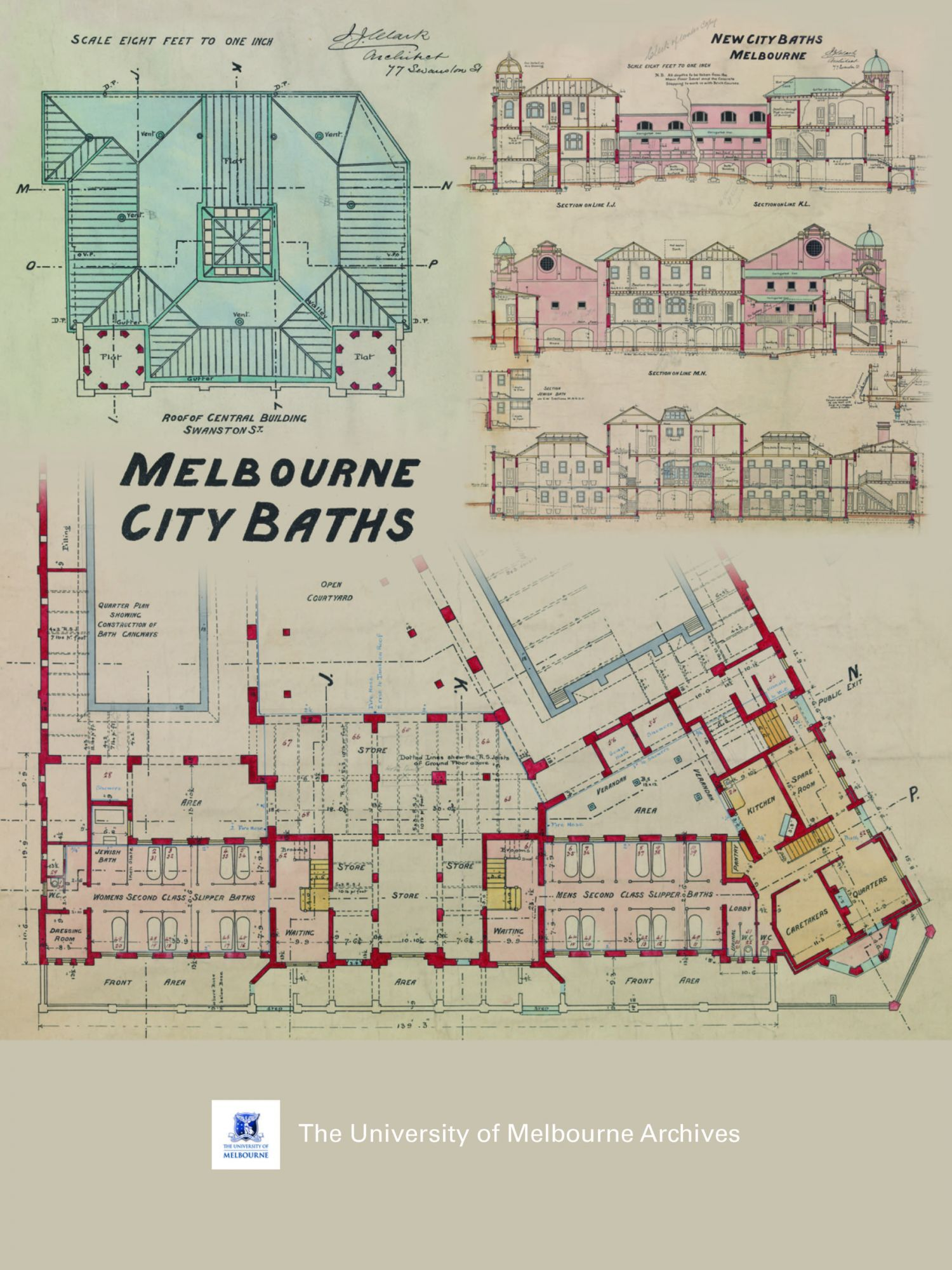 Collage of details from the drawings of the Melbourne City Baths, 1904. JJ and EJ Clark collection 1981.0089