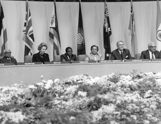 Commonwealth leaders at the Commonwealth Heads of Government Meeting in the Melbourne Town Hall, 1981. Photographer: Australian Information Service, University of Melbourne Archives 2005.0104.00118
