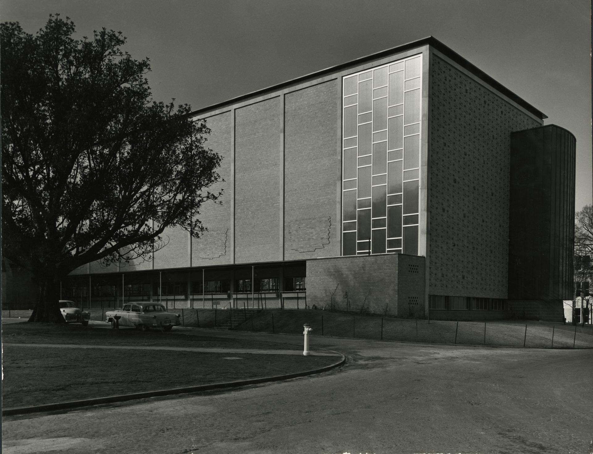Exterior New Wilson Hall from the south, c1956