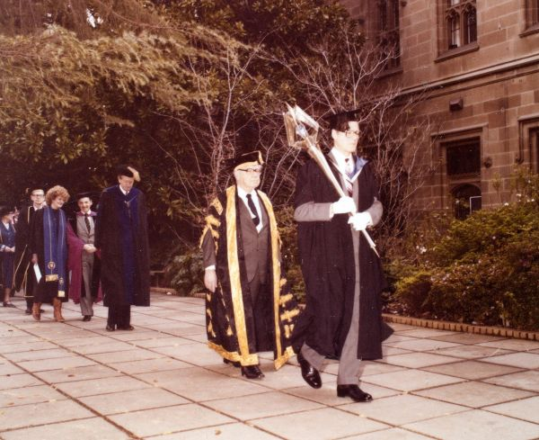 Installation of the Chancellor, University of Melbourne, 1980, University of Melbourne Photographs, 1981.0026.00020