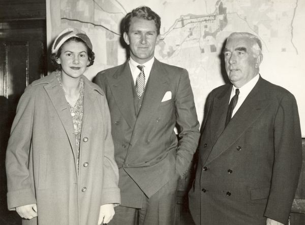 amie and Malcolm Fraser with Prime Minister Robert Menzies in Portland, Victoria, 1958. Photographer: unknown. Malcolm Fraser collection, University of Melbourne Archives, 2005.0036.00021