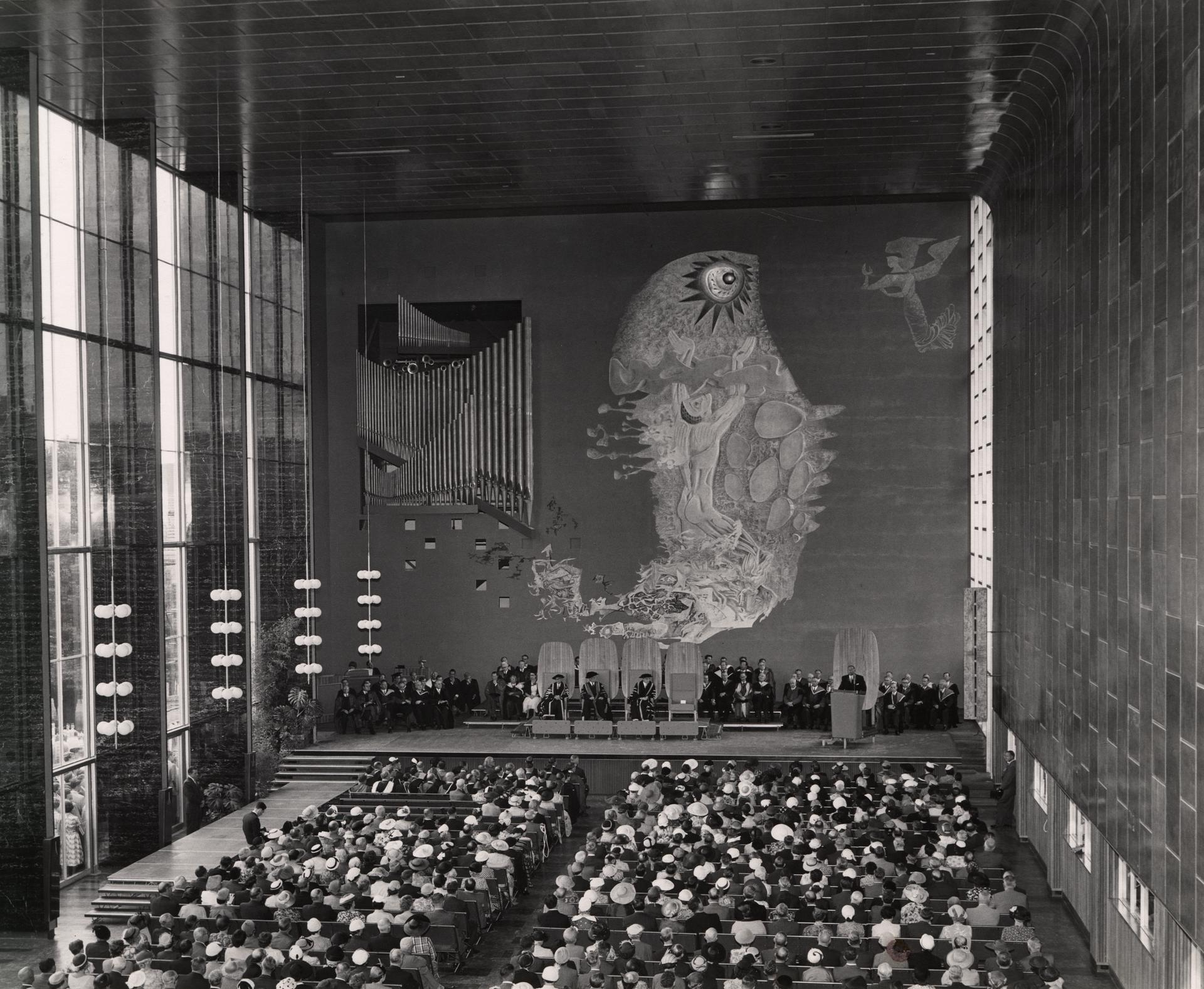 Opening of New Wilson Hall from the balcony, 1956