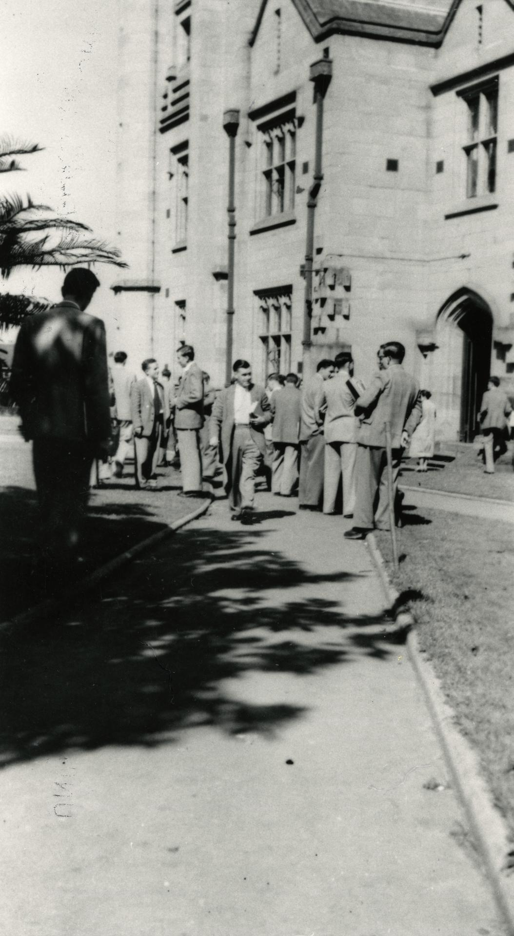 Students outside Old Arts building, 1954