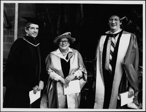 Photograph of Dr Brian James, Miss Diana Dyason and Professor Rod Home, University of Melbourne. Medi and Publications Services Office, 2003.0003.01200