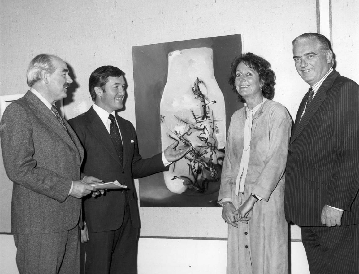 University Gallery group including Ray Marginson (left) and Gallery Director Betty Clarke