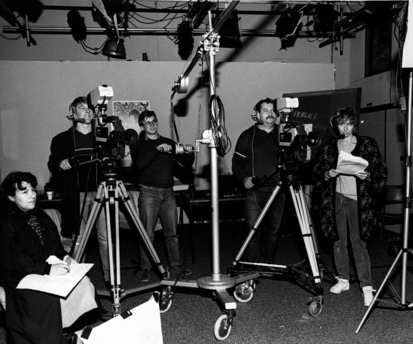 Equal Opportunity. Filming 'The Silk Hat Trick' video. 1986, University of Melbourne Media and Publications Services Office Collection, University of Melbourne Archives, 2003.0003.03608