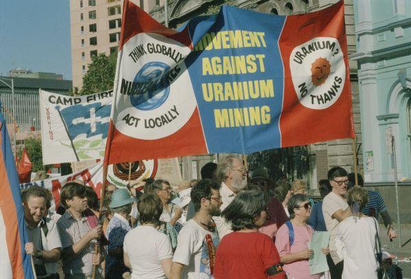 1999.0081.00956 Palm Sunday Rally, Movement Against Uranium Mining (MAUM) banner, 1998, John Ellis Collection, 1999.0081.00956