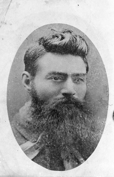 Portrait of the bushranger Ned Kelly