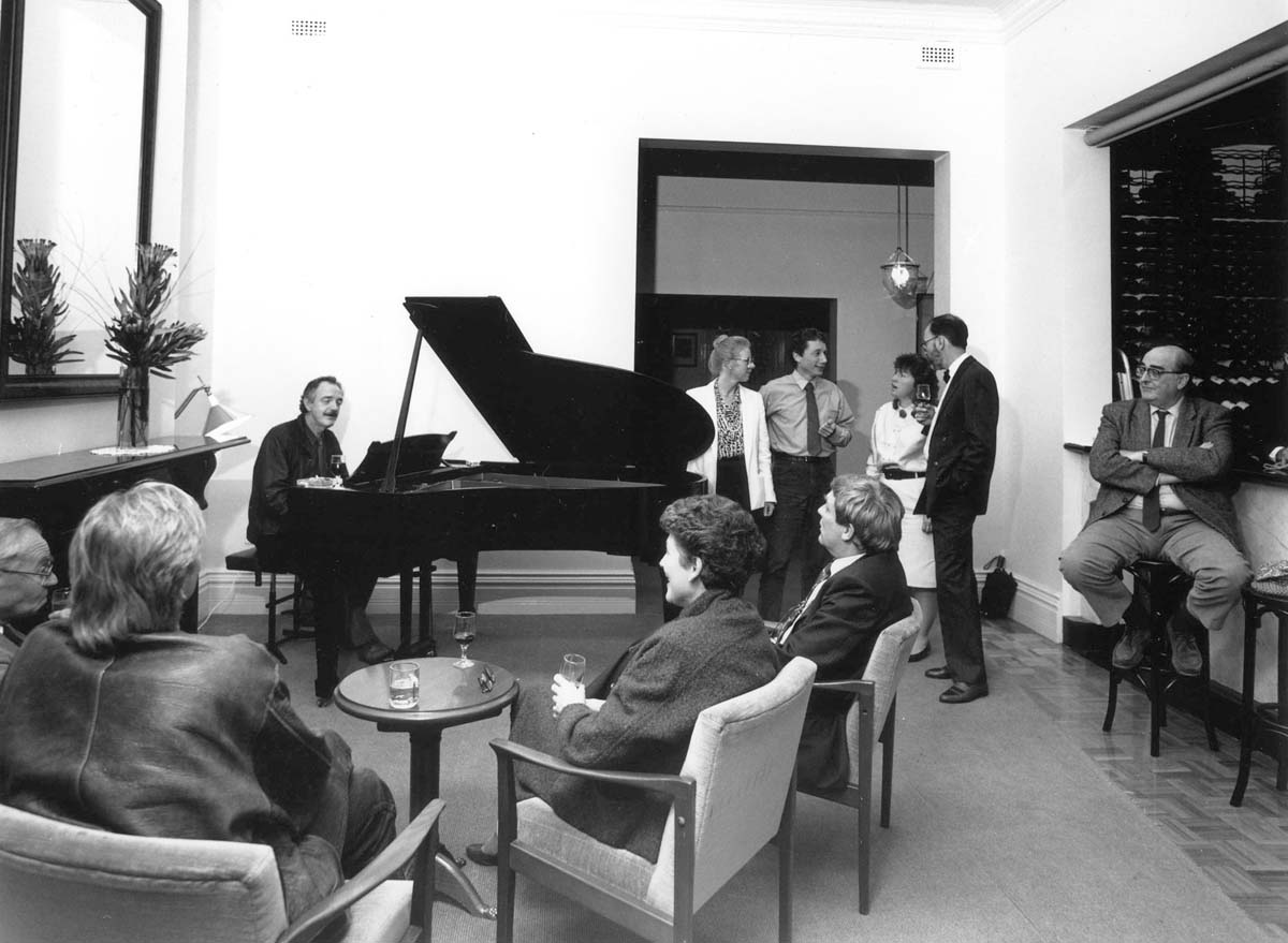 niversity House soiree with pianist Michael Sullivan; seated far right is office-bearer Max Marginson