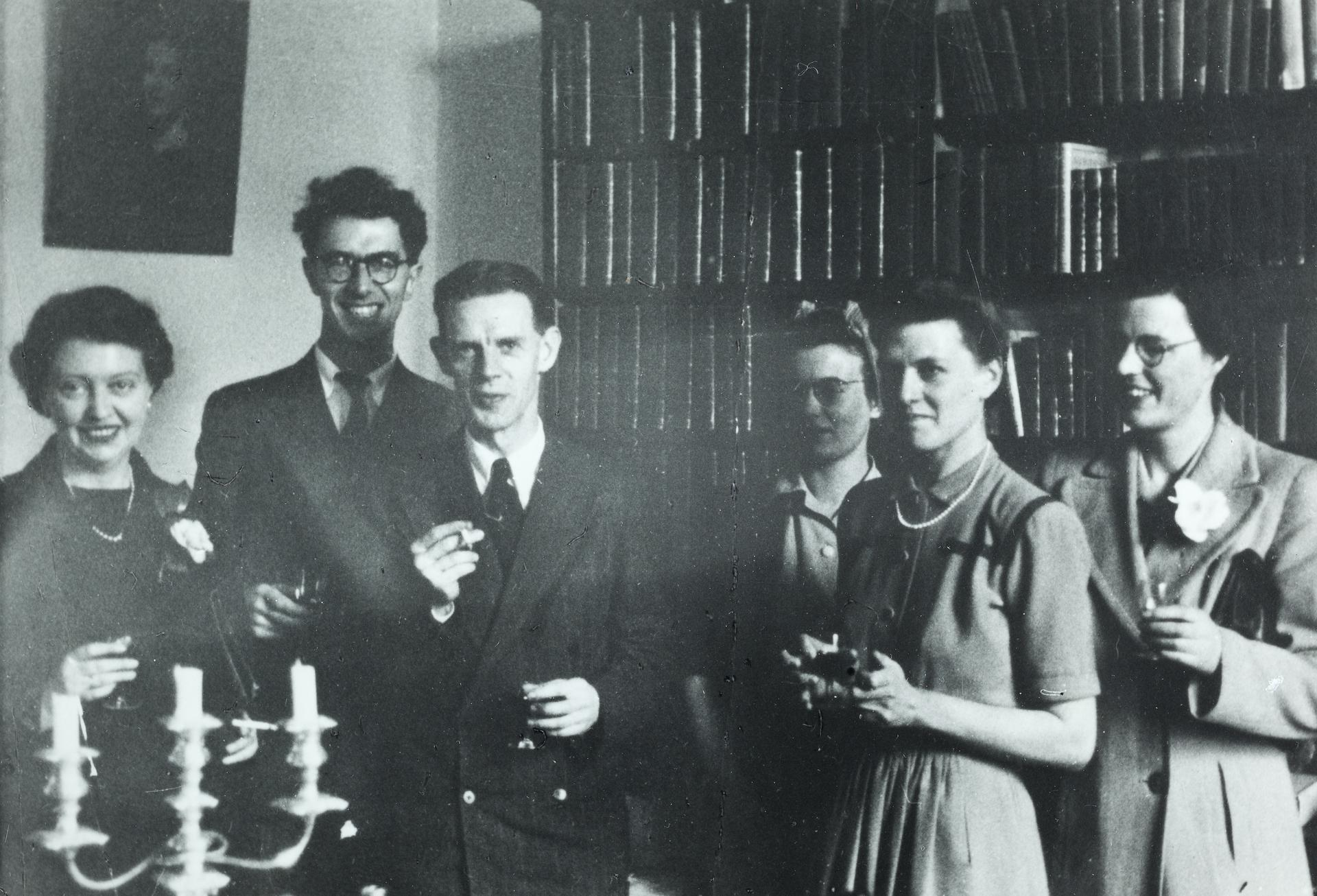 History Department, V-E Day, 1945, Max Crawford (centre)