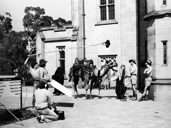 Filming 'The Sullivans' at the South Lawn, undated, University of Melbourne Media and Publications Services Office Collection, University of Melbourne Archives, 2003.0003.03093