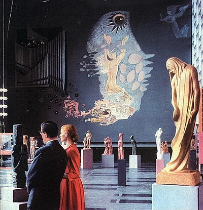 Interior Wilson Hall as an exhibition space, 1957