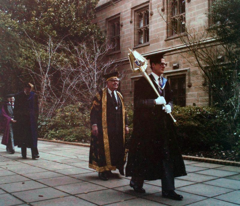 Installation of the Chancellor, University of Melbourne, 1980, University of Melbourne Photographs Collection, 1981.0026.00021