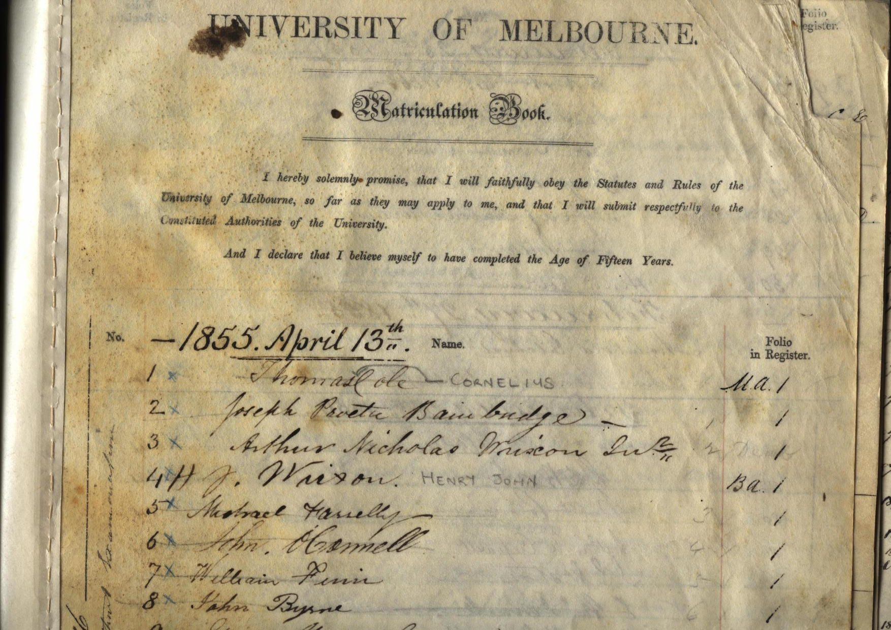 First page of Matriculation Roll